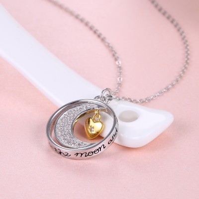 Tinnivi Moon With Heart Sterling Silver Pendant Necklace