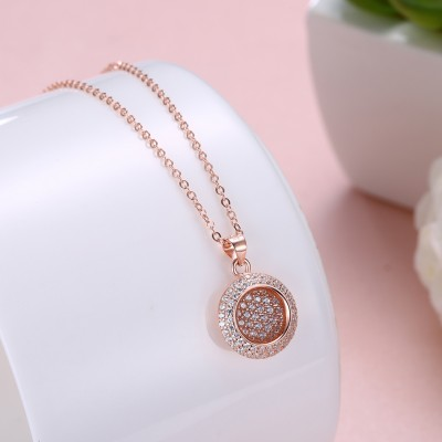 Tinnivi Rose Gold Plated Pave Created White Sapphire Sterling Silver Pendant Necklace