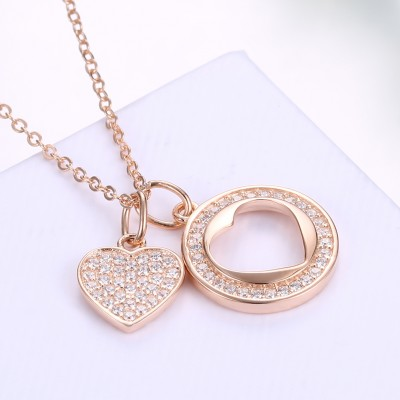Tinnivi Heart With Circle Rose Gold Plated Sterling Silver Pendant Necklace