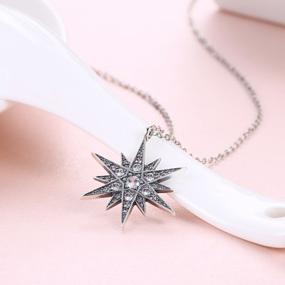Tinnivi Vintage Star Sterling Silver Pendant Necklace