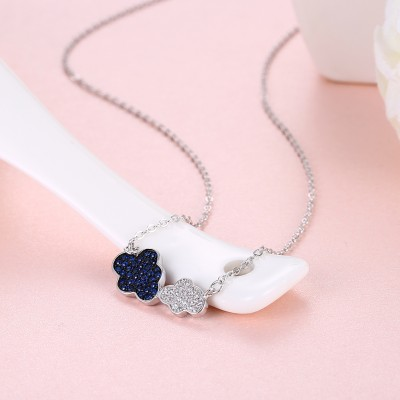 Tinnivi Double Cloud Sterling Silver Pendant Necklace