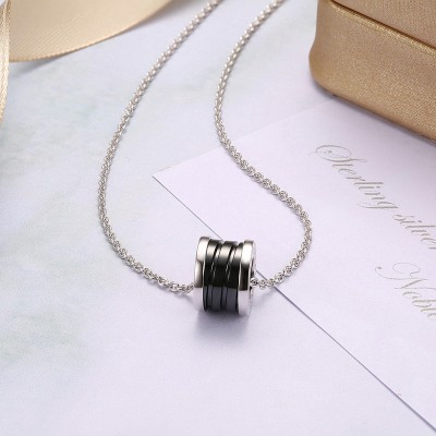 Tinnivi Black Ceramics Sterling Silver Pendant Necklace