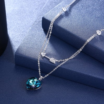 Tinnivi Heart With Arrow Blue Austrian Crystal Sterling Silver Pendant Necklace