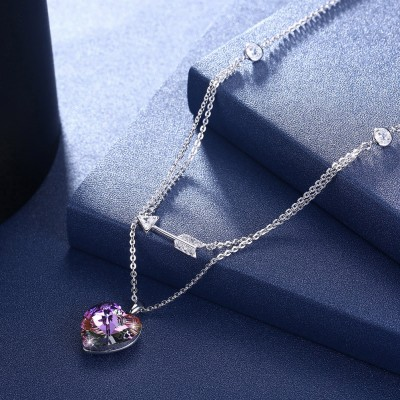 Tinnivi Heart With Arrow Pink Austrian Crystal Sterling Silver Pendant Necklace