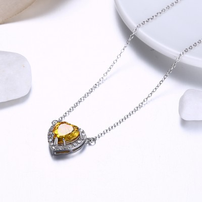 Tinnivi Halo Heart Cut Yellow Topaz Sterling Silver Pendant Necklace