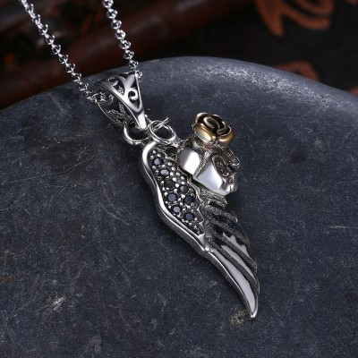 Tinnivi Wing With Rose Sterling Silver Pendant Necklace