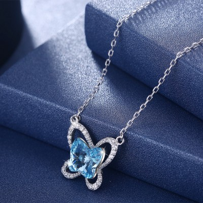 Tinnivi Butterfly Blue Austrian Crystal Sterling Silver Pendant Necklace