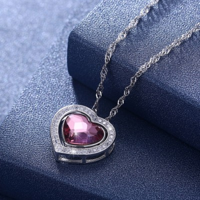 Tinnivi Heart Cut Pink Austrian Crystal Sterling Silver Pendant Necklace