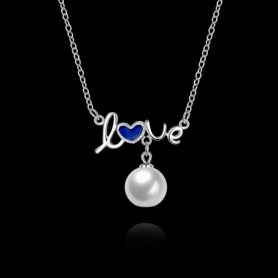 Tinnivi Love Pearl Sterling Silver Pendant Necklace