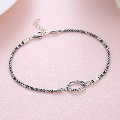 Tinnivi Simple Circle Sterling Silver Bracelet