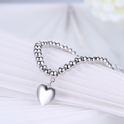 Tinnivi Polished Heart Pandent Bead Sterling Silver Bracelet
