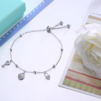 Tinnivi Lock And Ket Pandent Sterling Silver Bracelet