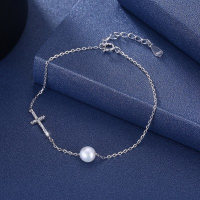 Tinnivi Cross With Pearl Sterling Silver Bracelet