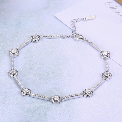 Tinnivi Simple Created White Sapphire Sterling Silver Bracelet