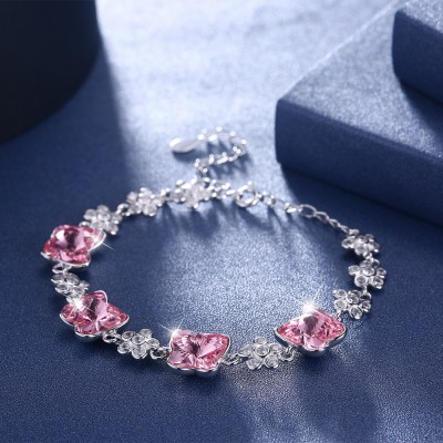 Tinnivi Flower With Butterfly Pink Austrian Crystal Sterling Silver Bracelet