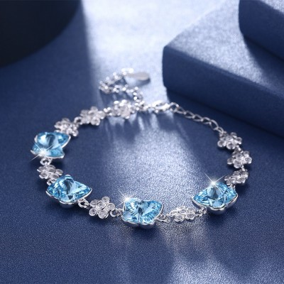 Tinnivi Flower With Butterfly Blue Austrian Crystal Sterling Silver Bracelet