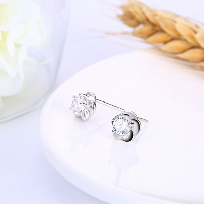 Tinnivi Flower Created White Sapphire Sterling Silver Stud Earrings