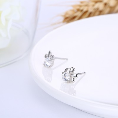 Tinnivi Stylish Hug Created White Sapphire Sterling Silver Stud Earrings