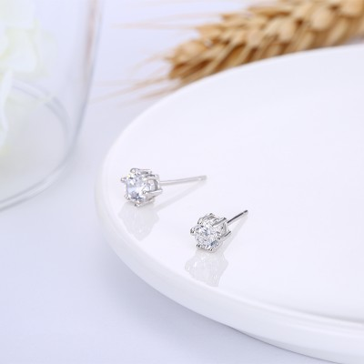 Tinnivi Classic 6 Prong Round Cut Created White Sapphire Sterling Silver Stud Earrings