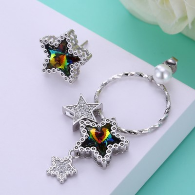 Tinnivi Asymmetrical Star Design Corlorful Austrian Crystal Sterling Silver Earrings