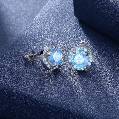 Tinnivi Created Aquamarine Sterling Silver Stud Earrings
