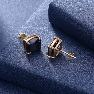 Tinnivi Gold Plated Cushion Cut Created Black Diamond Sterling Silver Stud Earrings