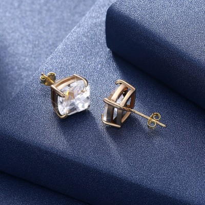 Tinnivi Gold Plated Cushion Cut Created White Sapphire Sterling Silver Stud Earrings