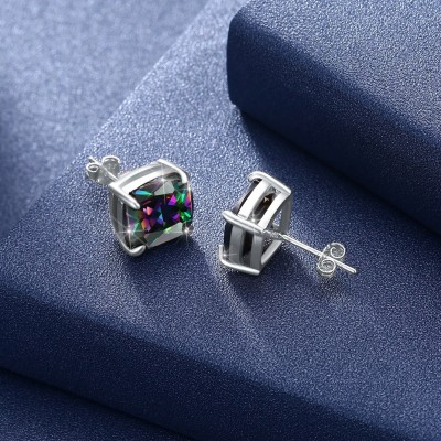 Tinnivi Cushion Cut Rainbow Topaz Sterling Silver Stud Earrings