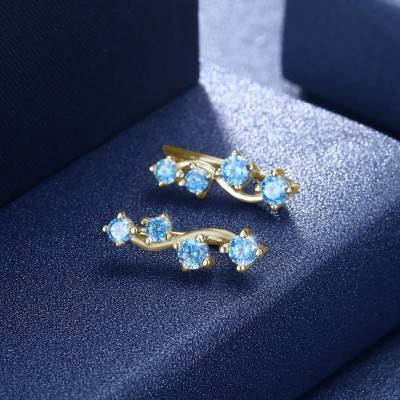 Tinnivi Gold Plated Created Aquamarine Sterling Silver Stud Earrings