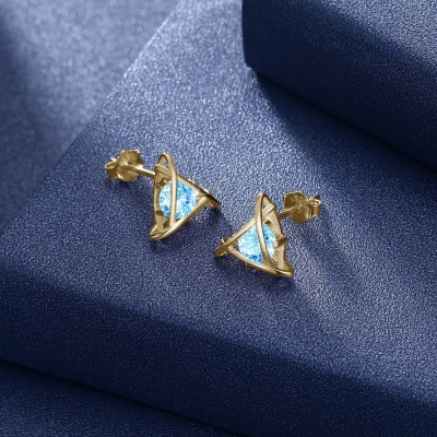 Tinnivi Gold Plated Triangle Created Aquamarine Sterling Silver Stud Earrings
