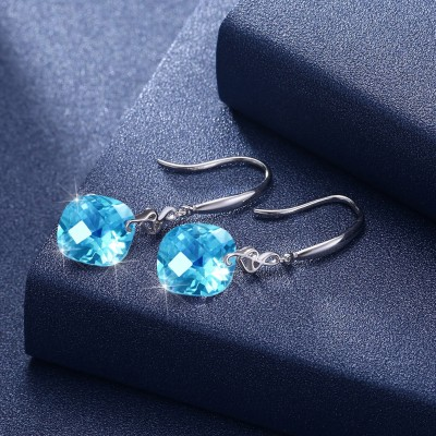 Tinnivi Musical Note Created Aquamarine Sterling Silver Drop Earrings