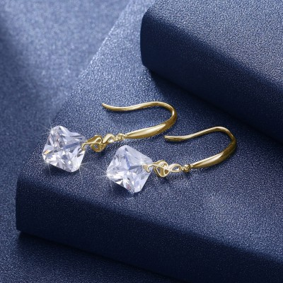 Tinnivi Musical Note Created White Sapphire Gold Sterling Silver Drop Earrings