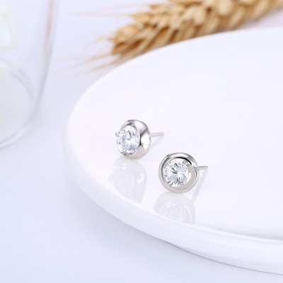 Tinnivi Stylish Created White Sapphire Sterling Silver Stud Earrings