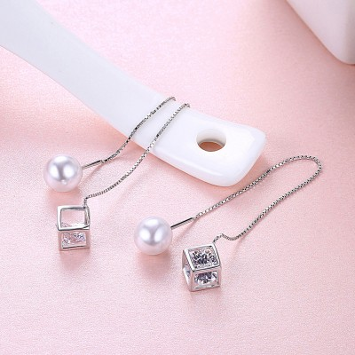Tinnivi Pearl With Created White Sapphire Sterling Silver Earrings