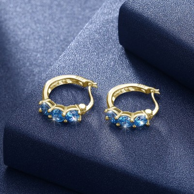 Tinnivi Gold Plated Created Aquamarine Sterling Silver Hoop Earrings