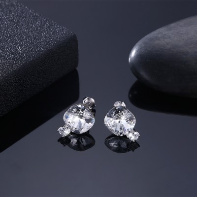 Tinnivi Cushion Cut White Austrian Crystal Sterling Silver Stud Earrings