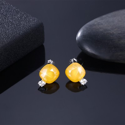 Tinnivi Cushion Cut Yellow Austrian Crystal Sterling Silver Stud Earrings