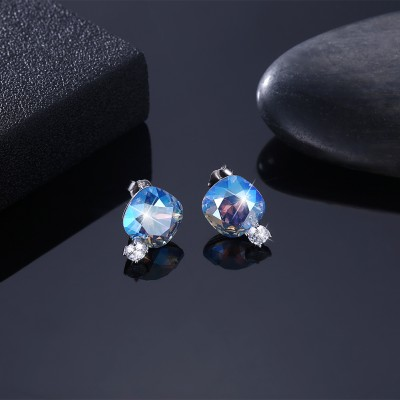 Tinnivi Cushion Cut Blue Austrian Crystal Sterling Silver Stud Earrings