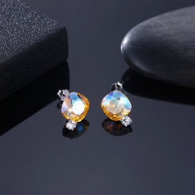 Tinnivi Cushion Cut Gold Austrian Crystal Sterling Silver Stud Earrings
