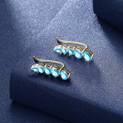 Tinnivi Gold Pear Cut Created Aquamarine Sterling Silver Stud Earrings