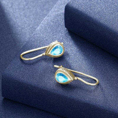 Tinnivi Gold Pear Cut Created Aquamarine Sterling Silver Drop Earrings