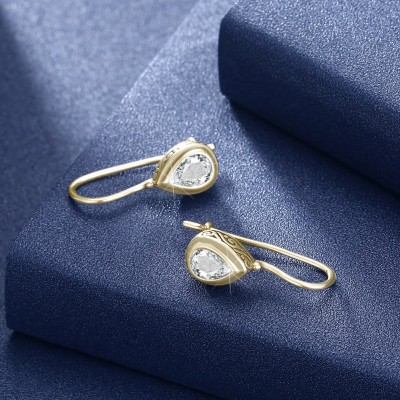 Tinnivi Gold Pear Cut Created White Sapphire Sterling Silver Drop Earrings
