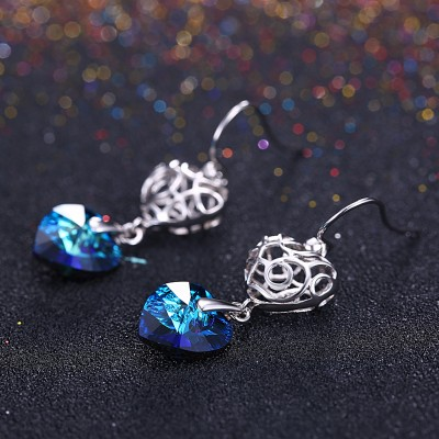 Tinnivi Hollow Out Heart Blue Austrian Crystal Sterling Silver Drop Earrings