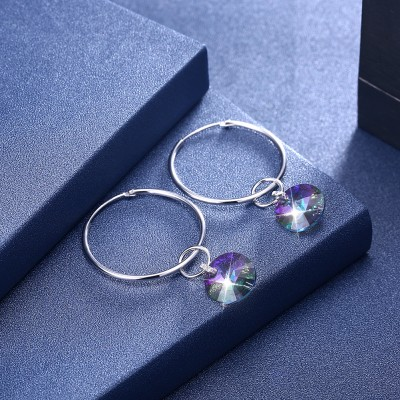 Tinnivi Colorful Austrian Crystal Sterling Silver Hoop Earrings