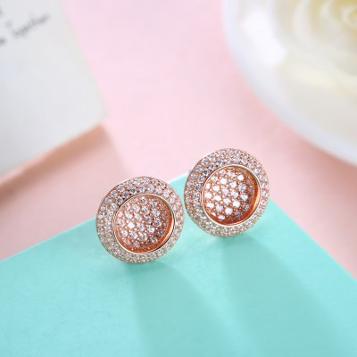 Tinnivi Stylish Rose Gold Plated Sterling Silver Stud Earrings
