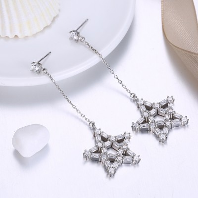 Tinnivi Fashion Created White Sapphire Star Sterling Silver Dangle Earrings