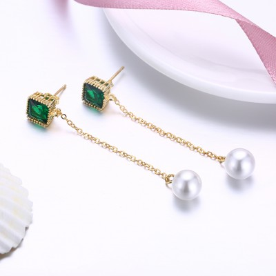 Tinnivi Gold Plated Emerald With Pearl Sterling Silver Dangle Earrings