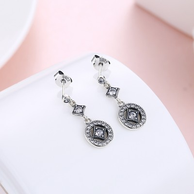 Tinnivi Vintage Created White Sapphire Sterling Silver Dangle Earrings