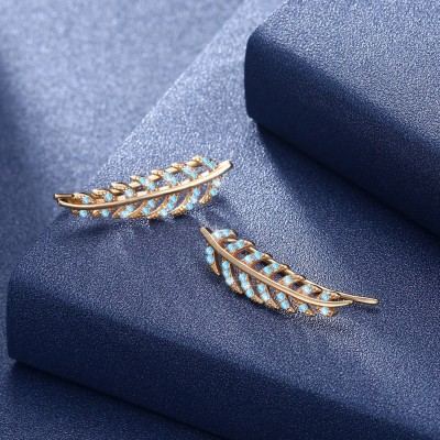 Tinnivi Leaf Design Gold Created Aquamarine Sterling Silver Stud Earrings
