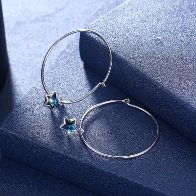 Tinnivi Star Blue Austrian Crystal Sterling Silver Hoop Earrings